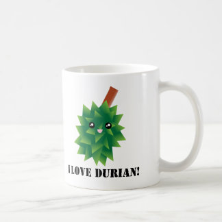 I Love Durian Kawaii Fruit Manga Coffee Mug