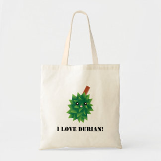 I Love Durian Kawaii Fruit Manga Tote Bag
