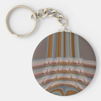 I Love Eiffel Tower  Paris With Love blue sky colo Basic Round Button Key Ring