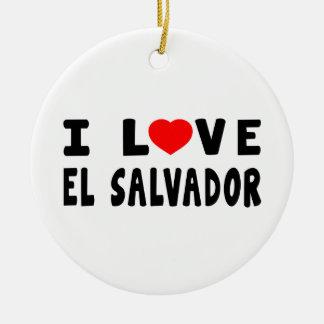 I Love El Salvador Round Ceramic Decoration