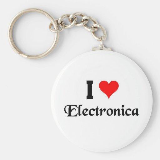 I love Electronica Key Chain