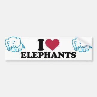 I Love Elephants Bumper Sticker