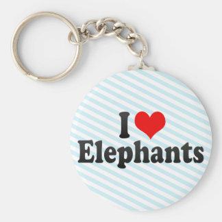 I Love Elephants Keychain