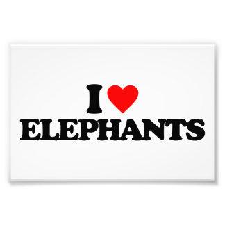 I LOVE ELEPHANTS ART PHOTO