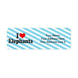 I Love Elephants Return Address Label