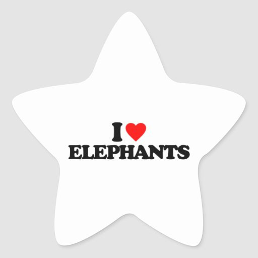 I LOVE ELEPHANTS STAR STICKER