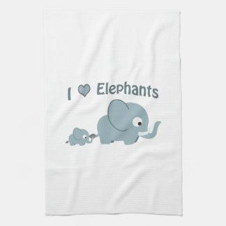 I love elephants. tea towel