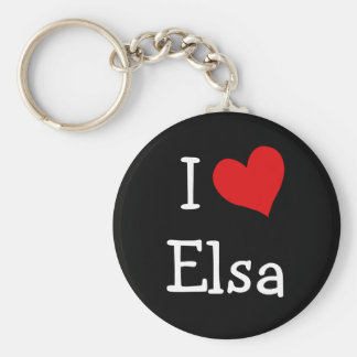 I Love Elsa Basic Round Button Key Ring