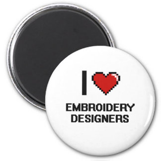 I love Embroidery Designers 2 Inch Round Magnet
