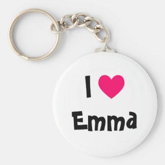 I Love Emma Basic Round Button Key Ring
