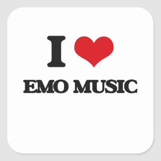 I Love EMO MUSIC Square Stickers