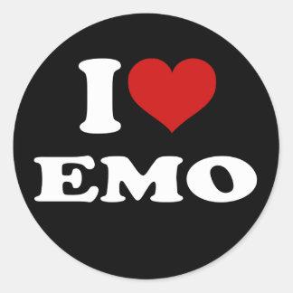 I Love Emo Round Sticker