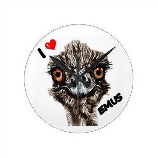 I LOVE EMUS WALL CLOCKS