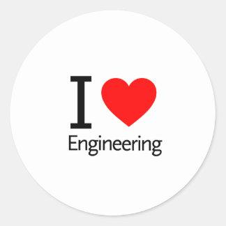 I Love Engineering Classic Round Sticker