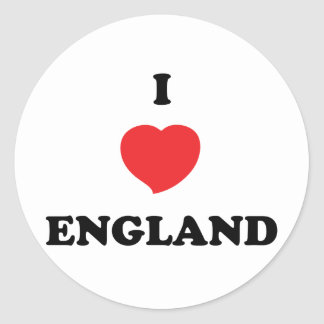 I LOVE England Round Stickers