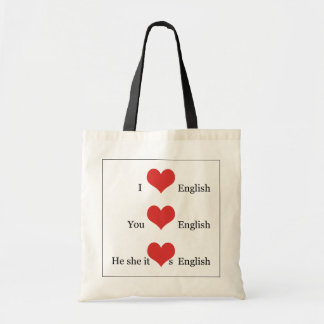 I love English Grammar TESOL ESL Teacher Student Budget Tote Bag