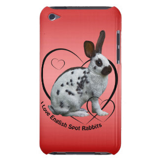 I Love English Rabbits iPod Case (Pink/Red)