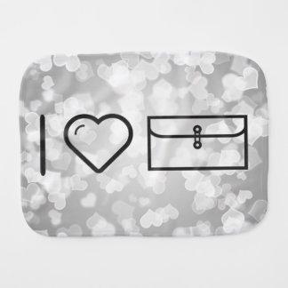 I Love Envelope Pockets Burp Cloths