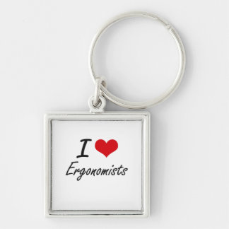 I love Ergonomists Silver-Colored Square Key Ring