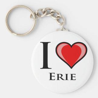 I Love Erie Basic Round Button Key Ring