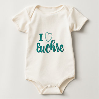 I Love Euchre Personalized Lettered Design Baby Bodysuit