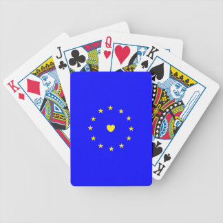 I Love Europe EU Flag with Heart Bicycle Playing Cards