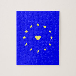 I Love Europe EU Flag with Heart Jigsaw Puzzle