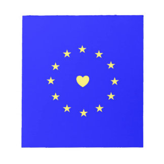 I Love Europe EU Flag with Heart Notepad