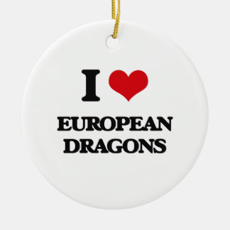 I love European dragons Double-Sided Ceramic Round Christmas Ornament