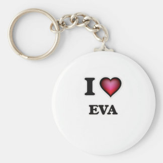 I Love Eva Basic Round Button Key Ring