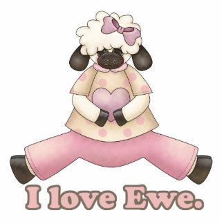 i love ewe valentine sheep standing photo sculpture