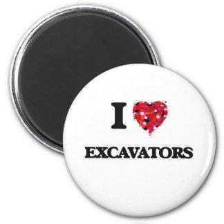 I love Excavators 6 Cm Round Magnet