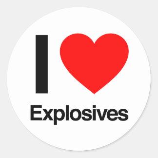 i love explosives round sticker