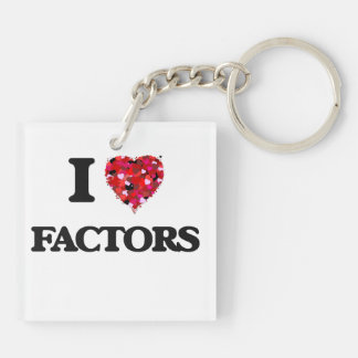 I Love Factors Double-Sided Square Acrylic Key Ring