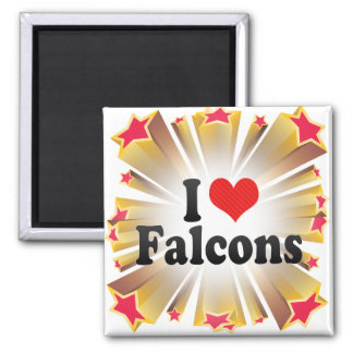 I Love Falcons Square Magnet