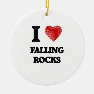I love Falling Rocks Round Ceramic Decoration