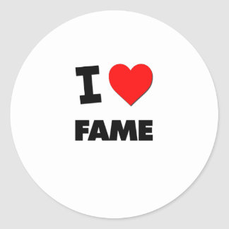 I Love Fame Round Stickers
