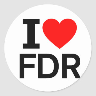 I Love FDR Round Sticker
