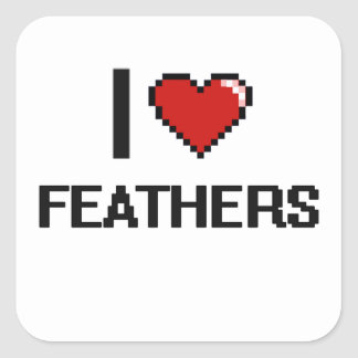 I Love Feathers Digital Retro Design Square Sticker