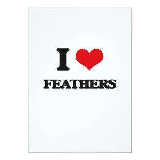 """I love Feathers 5"""" X 7"""" Invitation Card"""