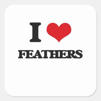 I love Feathers Square Sticker