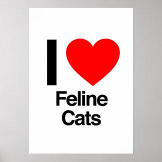 i love feline cats print