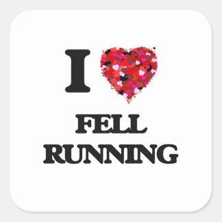 I Love Fell Running Square Sticker