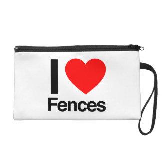 i love fences wristlet clutch