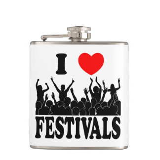 I Love festivals (blk) Hip Flask