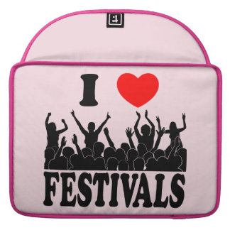 I Love festivals (blk) Sleeve For MacBook Pro