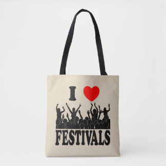 I Love festivals (blk) Tote Bag
