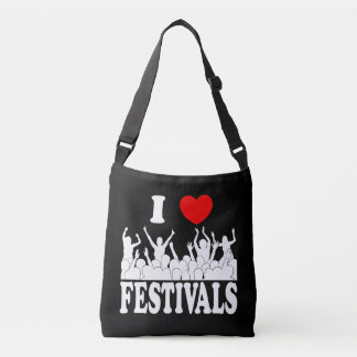 I Love festivals (wht) Crossbody Bag