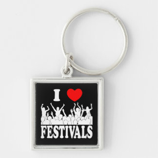 I Love festivals (wht) Key Ring