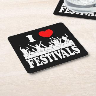 I Love festivals (wht) Square Paper Coaster